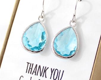 Aqua Blue / Silver Teardrop Bridesmaid Earrings - Aqua Drop Earrings - Bridesmaid Gift Jewelry - Aqua and Silver - Something Blue EB1