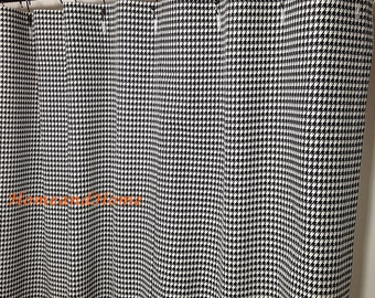 Fabric Shower Curtain Houndstooth Check Black White 72 X 84 108 Extra Long