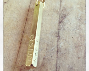 Custom Name or Initials Brass Bar Stamped Necklace