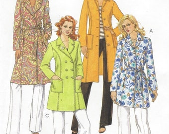 Womens Single or Double Breasted Lined Coat in 2 Lengths OOP McCalls Sewing Pattern M5060 Size 6 8 10 12 Bust 30 1/2 to 34 UnCut