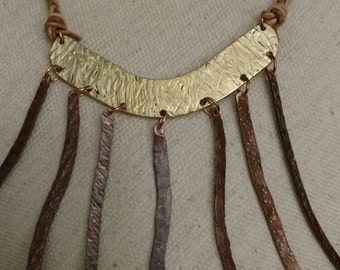 Copper Necklace, Braided Leather Chain, FREE SHIPPING, Bib Style, Recycled, Hammered, Statement Piece, Patina