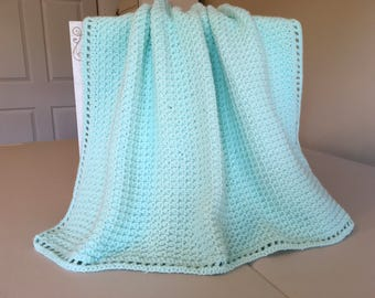 Crocheted Waffle Stitch Baby Afghan -Mint Green