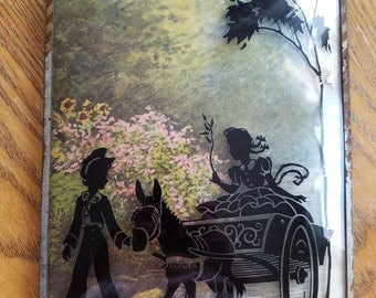 Sweet Vintage Silhouette, Boy, Girl and Carriage with Horse, Bubble Glass, Rusty and Shabby