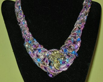 Lavender and Blue Bib Necklace with Silver Leaf Accent