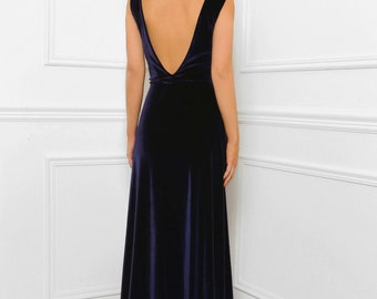 Navy Blue Bridesmaid Velvet Maxi Elegant Dress Slit Sleeveless
