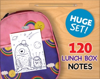 FULL SET Lunch Box NOTES for Kids 120 Printable Cards Drawings Inspirational School Printables Art for Boys and Girls Lunchbox Letters !!