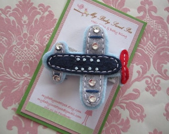 Barrettes for girls - girl hair clips - girl barrettes - airplanes - no slip hair clips