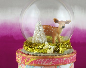 Small glass cloche. Deer with Christmas tree diorama.