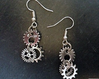 Steampunk earrings with small silver gears tooth wheels-Clockpunk, earrings, pendant earrings, used vintage finish