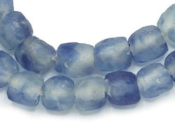 50 Recycled Sea Glass Atlantic Blue and White Swirl (10& 11mm) African Fair Trade  - Wholesale - Krobo Tribal - Made in Ghana (121-GHA-KRO)