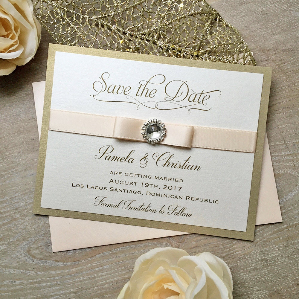 RHINESTONE Save The Date - Gold and Blush Save the Date Card with ...