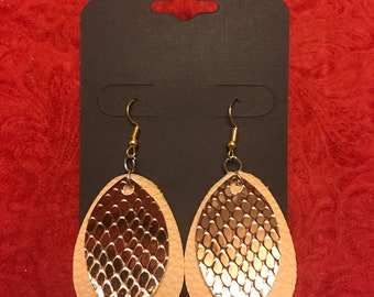 Double Metallic Gold Leather Earrings