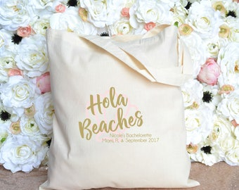 Hola Beaches Bachelorette Tote - Hola Bachelorette Tote - Beach Bachelorette Tote - Miami - New York - Ocean City