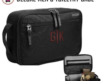 FOR HIM Monogrammed Deluxe Travel/Toiletry Kit - Black - Free Ship