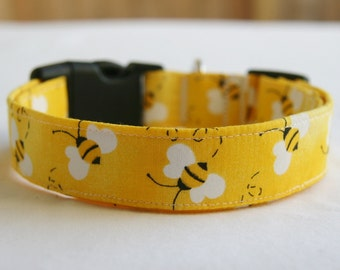 Dog Collar- Bumblebees on Yellow- Adjustable Dog- Pet Collar- Pet Supplies-Small to Large Breed Dog - 1 inch 1.5 -2 inch width
