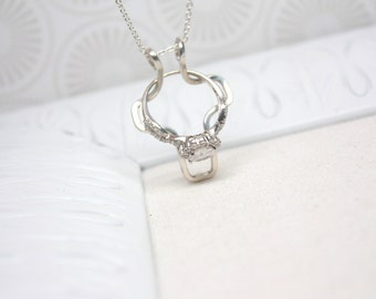 Ring Holder Necklace, Cross, Wedding / Engagement Ring Holder Pendant, Argentium Sterling Silver
