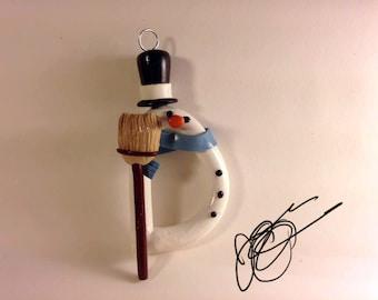 Unique Handmade Alphabet Letter Ornament: Snowman