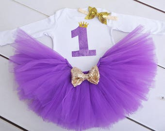 Purple birthday outfit, purple birthday tutu, 1st birthday outfit, 2nd birthday outfit, first birthday outfit, girls outfit, baby first