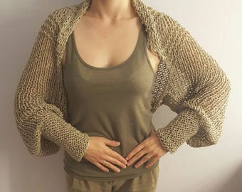 Hand knitted shrug/ wrap / capelet / bolero. Loose knitted summer /spring/autumn/ winter shrug made of cotton / viscose or woolen yarn