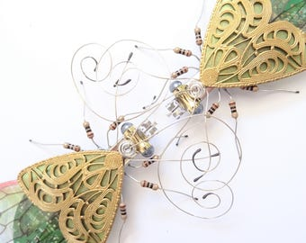 The Entwined Gemini Bugs, Embellished Circuit Board Insects by Julie Alice Chappell