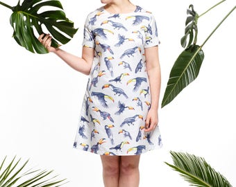Handmade toucan shift dress, bird dress, tropical dress