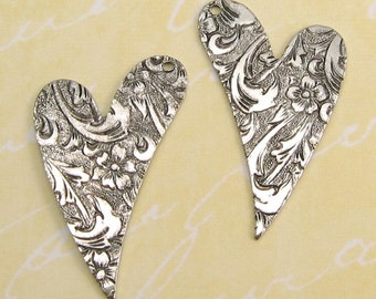 Embossed Heart Drop, Antique Silver, 1 Pair  AS10