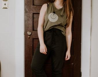 Flowy Crop Top for Women, Night Light and Moth Print on Moss Green, Summer Shirt, Festival Style, Womens Crop Top, Crop Racerback Tank