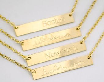 Skyline necklace, city necklace, New York necklace, Boston necklace, horizontal bar necklace hipster necklace Chicago necklace San Francisco