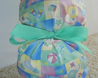 Fold Up Ponytail Surgical Scrub Hat with Pastel Baby Nursery