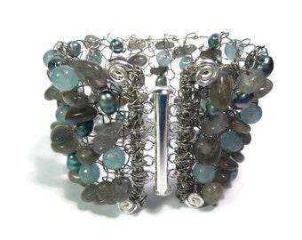 Ice Maiden - Blue/Silver Labradorite Bracelet - Hand Knitted Wire Mesh Bead Cuff - Freshwater Pearls/Gemstone - Mishimon Designs