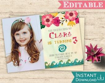 Moana Invitation with picture Editable Tropical Birthday Party Editable PDF Template Moana Invite Printable Instant Download Moana Decor