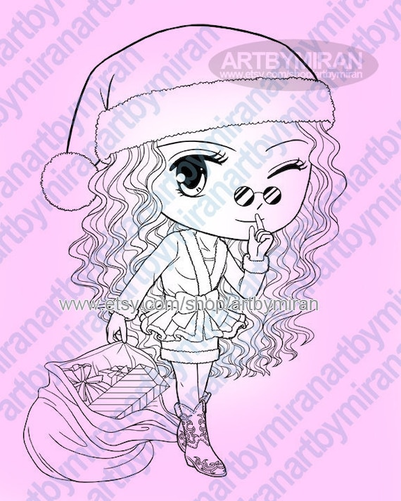 christmas digital stamp cute girl santa coloring page coloring for kids instant download printable digi stamp line art for card craft - Cute Santa Coloring Pages