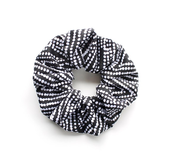 DOTTY SCRUNCHY. Hair Scrunchy or Scrunchie.  Black and White Dots Hair Scrunchies. Retro Hair Accessory