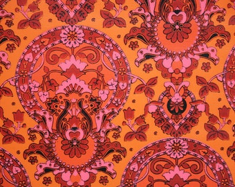 Retro Wallpaper by the Yard 70s Vintage Wallpaper - 1970s Orange and Red Damask