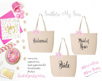 bridal party totes, bridesmaid tote, bride tote, wedding tote, wedding gift, personalized tote, canvas tote, bridesmaid gift,