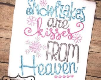 Stickmuster sind 5 x 7 6 x 10 Schneeflocken Küsse von Himmel Stickerei Spruch, Weihnachten-Stickerei, Socuteappliques, Schneeflocke Stickerei