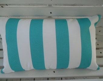 Beach Stripe Outdoor Pillow Cover Turquoise White Coastal Patio Porch Decorative Throw Pillow Cushion Cabana Stripe