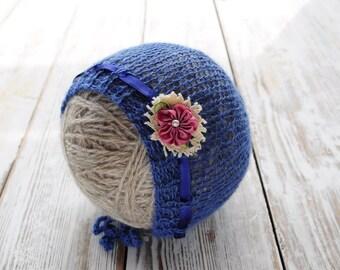 Newborn knit Bonnet. Alpaca Bonnet. Photo prop Hat. Baby Bonnet.