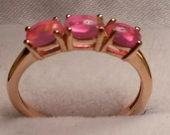 Rare natural Ethiopain Welo opal trilogy ring in rose gold 925 size M