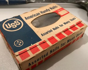 Vintage USS United States Steel Nails In Box, Vintage Advertising, Vintage Americana, Midcentury Hardware, Fathers Day Ideas, Free Shipping