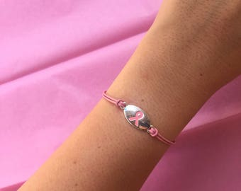 Breast Cancer Awareness Pink Leather Cord Bracelet