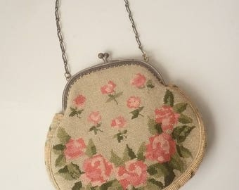 1920's 1930's Antique Vintage Mini Tapestry Needlepoint Embroidered Chain Handle Bag Clutch Purse