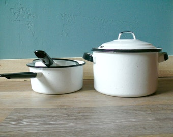 White Speckled Enamelware Cookware Set, Black Trimmed, 1 Lidded Stock Pot, 2 Saucepans, Country Farmhouse Kitchen, Vintage Camping