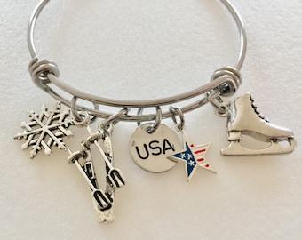 Winter Olympics Bangle, Olympics Charm Bracelet, Winter Sports, Olympic Games, Skiing, Ice Skating,USA Custom Stamp, Olympic Bangle