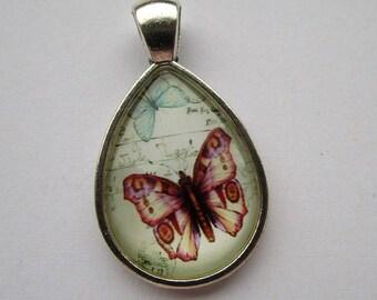 support + butterfly, vintage, 18x25mm Teardrop shape cabochon