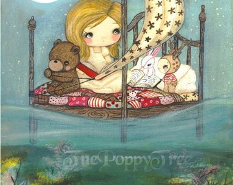 Dream Print Whimsical Children Nursery Wall Art Print Fairy Tale---My Bed is a Boat