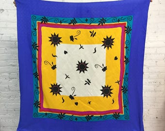 vintage 90's Adrianna Papell sun and flower silk scarf / large abstract print pop art square scarf / sarong