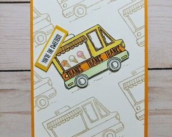 Ice Cream Truck Thank You Card - Handmade Stampin Up 'You're the Sweetest' Card
