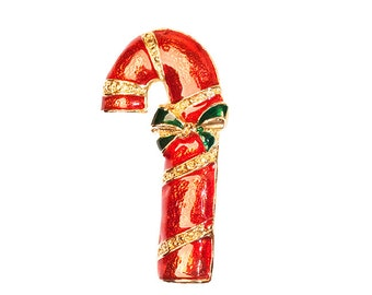 Candy Cane Pin, Red Enamel Pin, Gold Pink, Christmas Pin, Vintage 1970s, Christmas Jewelry, Christmas Brooch, Candy Cane Brooch