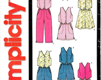 Simplicity 7055 Child's Vest, Flared Shorts and Straight Pants or Shorts Easy To Make Sewing Pattern Size 3-4-5-6-7-8 UNCUT